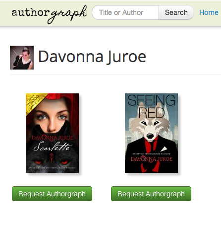 'Scarlette' & 'Seeing Red' Now Listed on Authorgraph