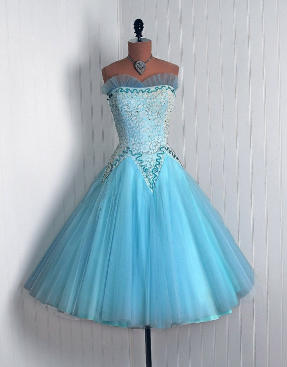 50s Elsa Frozen Blue Prom Dress