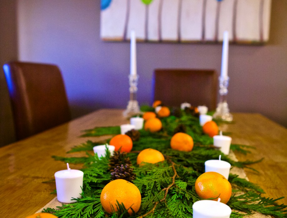 Orange Christmas Table Centerpiece
